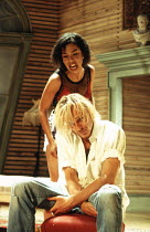 Ben Daniels (Tiger), Sophie Okonedo (Palace) in 900 ONEONTA at the Old Vic, London SE1 18/07/1994  written & directed by David Beaird design: Tim Shortall lighting: Howard Harrison
