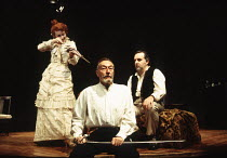 l-r: Gemma Jones (Alice), John Neville (Edgar), Anthony O'Donnell (Kurt) in THE DANCE OF DEATH by Strindberg at the Almeida Theatre, London N1 17/01/1995  translated by Michael Meyer design: Patri...