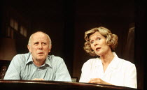 Richard Wilson (Stephen Febble), Angela Thorne (Virginia Febble) in THE WEEKEND by Michael Palin at the Strand Theatre, London WC2 26/04/1994  an Yvonne Arnaud Theatre, Guildford production design...