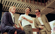 l-r: Daniel Craig (Mickey), Rupert Graves (Eddie), Stephen Dillane (Artie) in HURLYBURLY by David Rabe at the Old Vic, London SE1 24/03/1997  design: Paul Andrews director: Wilson Milam