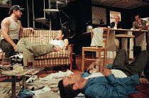front, l-r: Andy Serkis (Phil), Susannah Doyle (Bonnie), Rupert Graves (Eddie) rear right: Daniel Craig (Mickey), Stephen Dillane (Artie) in HURLYBURLY by David Rabe at the Old Vic, London SE1 24/03/1...