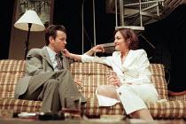 Rupert Graves (Eddie), Elizabeth McGovern (Darlene) in HURLYBURLY by David Rabe at the Old Vic, London SE1 24/03/1997  design: Paul Andrews director: Wilson Milam