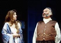 Jemma Redgrave (Sophie), Dinsdale Landen (Famusov) in CHATSKY by Alexander Griboyedov at the Almeida Theatre, London N1 06/03/1993  design: Tim Hatley director: Jonathan Kent