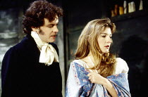 Colin Firth (Chatsky), Jemma Redgrave (Sophie) in CHATSKY by Alexander Griboyedov at the Almeida Theatre, London N1 06/03/1993  design: Tim Hatley director: Jonathan Kent