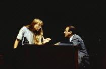 Lia Williams (Carol), David Suchet (John) in OLEANNA by David Mamet at the Royal Court Theatre, London SW1 01/07/1993  design: Eileen Diss lighting: Gerry Jenkinson director: Harold Pinter