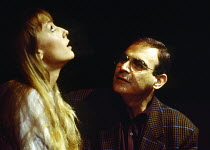 Lia Williams (Carol), David Suchet (John) in OLEANNA by David Mamet at the Royal Court Theatre, London SW1 01/07/1993  design: Eileen Diss lighting: Gerry Jenkinson director: Harold Pinter