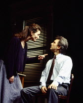 Michelle Fairley(Carol), Denis Lawson (John) in OLEANNA by David Mamet at the Duke of York's Theatre 06/1994 a Royal Court Theatre 1993 production design: Eileen Diss lighting: Gerry Jenkinson dir...