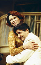 Gabrielle Drake (Monica Reed). Tom Conti (Gary Essendine) in PRESENT LAUGHTER by Noel Coward at the Globe Theatre, London W1 23/06/1993  design: Terry Parsons lighting: Mark Pritchard director: To...