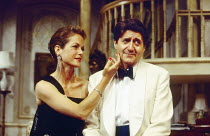 Jenny Seagrove (Joanna Lyppiatt), Tom Conti (Gary Essendine) in PRESENT LAUGHTER by Noel Coward at the Globe Theatre, London W1 23/06/1993  design: Terry Parsons lighting: Mark Pritchard director:...