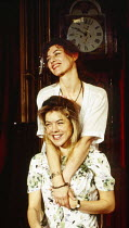 Janie Dee (Violet - front), Diana Kent (Rose) in PARALLEL VISION by Stephanie Crawford at the King's Head Theatre, London N1 08/11/1993  music: Simon Brint & Simon Wallace design: Demetra Hersey l...