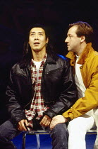 l-r: Francois Chau (Greg), Stefan Bednarczyk (Simkins) in THE L. A. PLAYS by Han Ong at the Almeida Theatre, London N1 09/11/1993  design: Julian McGowan lighting: Rick Fisher director: Matthew Ll...