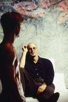 l-r: David Elliot (Ken), Tony Guilfoyle (Andrew) in THE L. A. PLAYS by Han Ong at the Almeida Theatre, London N1 09/11/1993  design: Julian McGowan lighting: Rick Fisher director: Matthew Lloyd