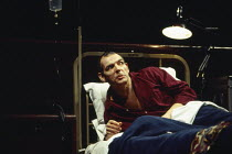 David Schofield (Roy M Cohn) in PERESTROIKA, part 2 of ANGELS IN AMERICA by Tony Kushner at the Cottesloe Theatre, National Theatre (NT), London SE1 20/11/1993  music: Paddy Cunneen design: Nick O...