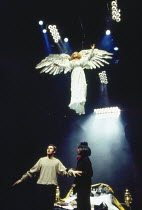top: Nancy Crane (The Angel) below, l-r: Stephen Dillane (Prior Walter), Joseph Mydell (Belize) in PERESTROIKA, part 2 of ANGELS IN AMERICA by Tony Kushner at the Cottesloe Theatre, National Theatre (...