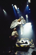 Nancy Crane (The Angel), Stephen Dillane (Prior Walter) in PERESTROIKA, part 2 of ANGELS IN AMERICA by Tony Kushner at the Cottesloe Theatre, National Theatre (NT), London SE1 20/11/1993  music: P...