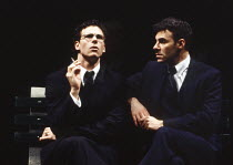 l-r: Marcus D'Amico (Louis Ironson), Sean Chapman (Prior Walter) in MILLENNIUM APPROACHES, part 1 of ANGELS IN AMERICA by Tony Kushner at the Cottesloe Theatre, National Theatre (NT), London SE1 23/01...