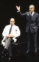 l-r: Jeffrey Chiswick (Henry), Henry Goodman (Roy Cohn) in MILLENNIUM APPROACHES, part 1 of ANGELS IN AMERICA by Tony Kushner at the Cottesloe Theatre, National Theatre (NT), London SE1 23/01/1992 &#x...