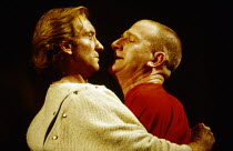 l-r: Charles Dance (Coriolanus), Malcom Storry (Tullus Aufidius) in CORIOLANUS by Shakespeare at the Royal Shakespeare Company (RSC), Royal Shakespeare Theatre, Stratford-upon-Avon, England 05/12/1989...
