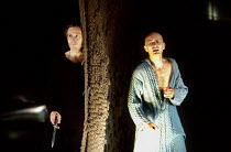 l-r: Daniel Webb (Hamlet), Andrew Jarvis (Claudius) in HAMLET by Shakespeare at the Haymarket Theatre Leicester, England 19/09/1989 international touring production design: David Borowsky lighting...