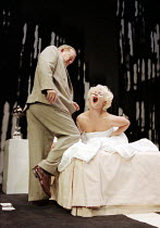 Ian Hogg (The Senator), Frances Barber (The Actress) in INSIGNIFICANCE by Terry Johnson at the Donmar Warehouse, London WC2 07/06/1995  design: Mark Thompson lighting: Hugh Vanstone director: Terr...