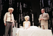 l-r: Alun Armstrong (The Professor), Frances Barber (The Actress), Ian Hogg (The Senator) in INSIGNIFICANCE by Terry Johnson at the Donmar Warehouse, London WC2 07/06/1995  design: Mark Thompson l...