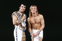 l-r: David Easter (Pharaoh), Jason Donovan (Joseph) in JOSEPH AND THE AMAZING TECHNICOLOR DREAMCOAT at the London Palladium, London W1 12/06/1991 music: Andrew Lloyd Webber lyrics: Tim Rice design...