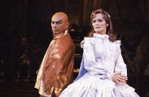 Yul Brynner (The King of Siam), Virginia McKenna (Anna Leonowens) in THE KING AND I at the London Palladium, London W1 12/06/1979  music: Richard Rogers lyrics & book: Oscar Hammerstein II set des...