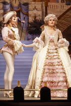 l-r: Susan Fleetwood (Prince Charming), Janet Dibley (Cinderella) in CINDERELLA at at the Lyttelton Theatre, National Theatre (NT) London 15/12/1983  set design: William Dudley costumes: Deirdre C...