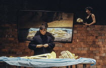 Robert Lepage, Marie Brassard in POLYGRAPH at the Almeida Theatre, London N1 22/02/1989  written by Robert Lepage & Marie Brassard designed & directed by Robert Lepage
