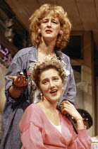 Joely Richardson (Shelby - front), Maggie Steed (Truvy) in STEEL MAGNOLIAS by Robert Harling at the Lyric Theatre, London W1 07/03/1989  set design: Eileen Diss costumes: Lindy Hemming lighting: M...