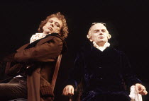 l-r: Hilton McRae (Antoine Saint-Just), Ian McDiarmid (Maximilien Robespierre) in THE DANTON AFFAIR by Pam Gems at the Royal Shakespeare Company (RSC), Barbican Theatre, London EC2 15/07/1986  set...