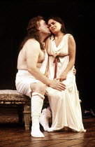 Brian Cox (Georges-Jacques Danton), Emma D'Inverno (Louise Danton) in THE DANTON AFFAIR by Pam Gems at the Royal Shakespeare Company (RSC), Barbican Theatre, London EC2 15/07/1986  set design: Far...