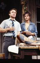 Bruce Alexander (Hank), Frances Barber (Dolores) in THE DEAD MONKEY by Nick Darke at the Royal Shakespeare Company (RSC), The Pit, Barbican Centre, London EC2 16/07/1986  music: Jeremy Sams set de...