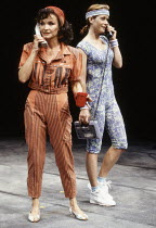 l-r: Kate O'Mara (Jackie), Jenny Seagrove (Bett) in KING LEAR IN NEW YORK by Melvyn Bragg at the Chichester Festival Theatre, West Sussex, England 08/07/1992  set design: Simon Higlett costumes: B...