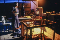 Susan Fleetwood (Ella), George Anton (Wesley) in THE CURSE OF THE STARVING CLASS by Sam Shepard at the Royal Shakespeare Company (RSC), The Pit, Barbican Centre, London EC2 11/09/1991  design: Ken...