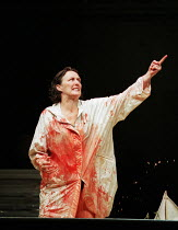 Fiona Shaw (Medea) in MEDEA by Euripides at the Queen's Theatre, London W1 30/01/2001  translated by Kenneth McLeish & Frederic Raphael set design: Tom Pye costumes: Tom Rand lighting: Peter Mumfo...