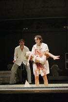 Jonathan Cake (Jason), Fiona Shaw (Medea) in MEDEA by Euripides at the Queen's Theatre, London W1 30/01/2001  translated by Kenneth McLeish & Frederic Raphael set design: Tom Pye costumes: Tom Ran...