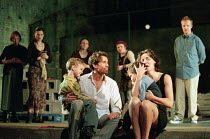 front centre: Jonathan Cake (Jason), Fiona Shaw (Medea) with (right) Jonathan Slinger (Tutor) in MEDEA by Euripides at the Queen's Theatre, London W1 30/01/2001  translated by Kenneth McLeish & Fr...