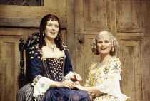 l-r: Helen Hobson (Alithea), Sophie Aldred (Margery) in LUST by the Heather Brothers at the Theatre Royal Haymarket, London SW1 19/07/1993  after 'The Country Wife' by William Wycherley design: Ge...