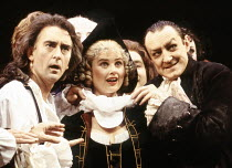 l-r: Denis Lawson (Horner), Sophie Aldred (Margery), Paul Leonard (Quack) in LUST by the Heather Brothers at the Theatre Royal Haymarket, London SW1 19/07/1993  after 'The Country Wife' by William...