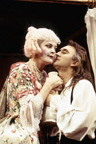 Kate O'Sullivan (Dainty), Denis Lawson (Horner) in LUST by the Heather Brothers at the Theatre Royal Haymarket, London SW1 19/07/1993  after 'The Country Wife' by William Wycherley design: Geoff R...