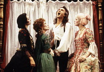 l-r: Karen-Jane Tomlinson (Squeamish), Judith Paris (Lady Fidget), Denis Lawson (Horner), Kate O'Sullivan (Dainty) in LUST by the Heather Brothers at the Theatre Royal Haymarket, London SW1 19/07/1993...