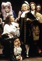 front, l-r: Denis Lawson (Horner), Julian Curry (Pinchwife - below), Sophie Aldred (Margery) in LUST by the Heather Brothers at the Theatre Royal Haymarket, London SW1 19/07/1993  after 'The Count...