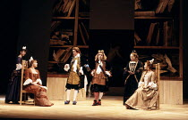 l-r: Katy Murphy (Mincing), Barbara Flynn (Millament), Crispin Redman (Petulant), Tom Hollander (Witwoud), Juliet Alderdice (Betty), Eleanor David (Mrs Marwood) in THE WAY OF THE WORLD by Congreve at...