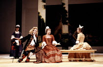 l-r: Katy Murphy (Mincing), Tom Hollander (Witwoud), Barbara Flynn (Millament), Emma Piper (Mrs Fainall) in THE WAY OF THE WORLD by Congreve at the Lyric Theatre Hammersmith, London W6 20/10/1992 &#xA...