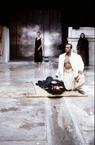 rear centre: Fiona Shaw (Electra) front right: Gordon Case (Aegisthus) in ELECTRA by Sophocles at the Royal Shakespeare Company (RSC), The Pit, Barbican Theatre, London EC2 15/12/1988  translated...