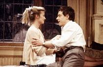 Sarah Berger (Marigold), John Sessions (Stuart) in THE COMMON PURSUIT by Simon Gray at the Phoenix Theatre, London WC2 07/04/1988  design: David Jenkins lighting: Leonard Tucker director: Simon Gr...