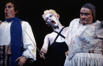 l-r: Stafford Dean (Bottom), Mark Rylance (Puck), Alexander Oliver (Flute) in A MIDSUMMER NIGHT'S DREAM by Benjamin Britten after Shakespeare at the The Royal Opera, Covent Garden, London WC2 17/06/19...