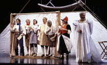 The Mechanicals - left: Stafford Dean (Bottom) in A MIDSUMMER NIGHT'S DREAM by Benjamin Britten after Shakespeare at the The Royal Opera, Covent Garden, London WC2 17/06/1986  music: Benjamin Brit...