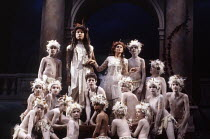 centre: James Bowman (Oberon), Lillian Watson (Tytania), James Bowman (Oberon), Dexter Fletcher (Puck) in A MIDSUMMER NIGHT'S DREAM by Benjamin Britten at Sadler's Wells, London EC1 24/10/1990  an...